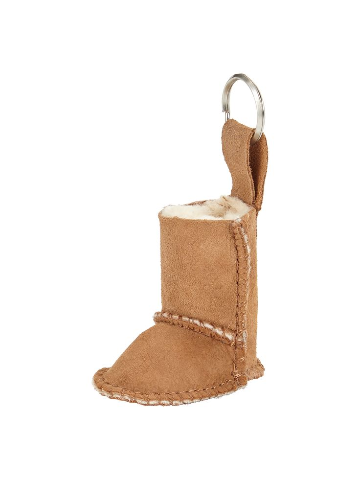 UGG® Australia Boot Keyring - Chestnut. Keep track of your keys in style with this boot keyring by UGG® Australia. Lined with sheepskin just like the real thing, this keyring is the perfect stocking filler for a lover of footwear, or as a cheeky treat to yourself to update your accessories for winter!