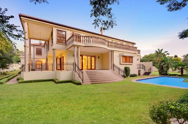 Modern meets Greek design in this Bryanston home. Featuring majestic columns and balustrade-clad balconies throughout, this 4 000 m2 property is aesthetically and functionally pleasing, with well-appointed fireplaces in the entrance hall, lounge and bedroom. With 895 m2 under roof, this home boasts four en-suite bedrooms (accessible via an elevator), a formal lounge flowing onto a patio and pool, a study and a guest suite. Staff accommodation and triple garaging are included.