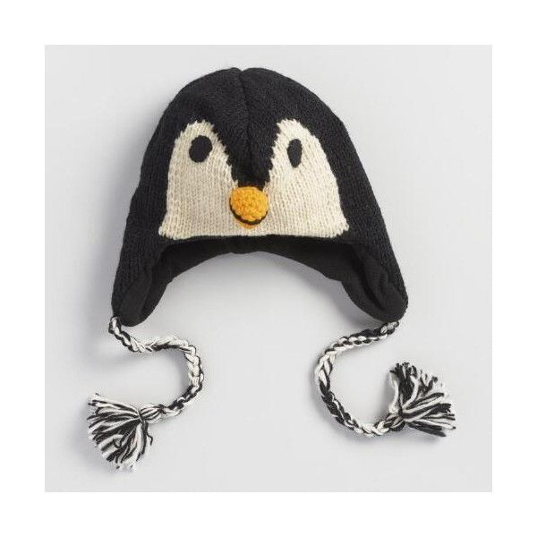 Cost Plus World Market Wool Penguin Hat ($20) ❤ liked on Polyvore featuring accessories, hats, black, woolen hat, wool hat, hand knitted hats, hand knit hats and cost plus world market