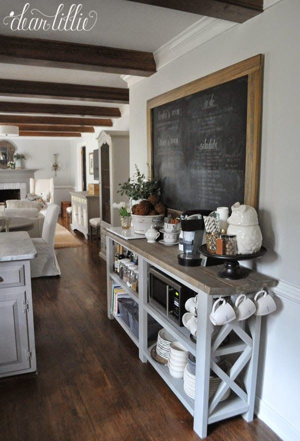 the finishing touches on our kitchen makeover before and afters by dear lillie kitchen buffet tablekitchen - Buffet Kitchen Table