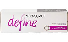 1 Day Acuvue Define Vivid Style is the first daily disposable contact lens designed to enhance your eyes in a natural way. Their brown limbal ring will give you more vibrant and lively eyes plus make them look bigger and more attractive.