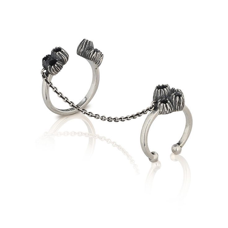 Antique silver stacking double rings joined with a fine chain   Perfect for the fashion-forward girl who loves to stand out   ENDLESS STACKED RINGS   Stormy grey sterling silver with barnacle detail   Au Revoir Les Filles   Click to shop timeless beautiful jewellery now