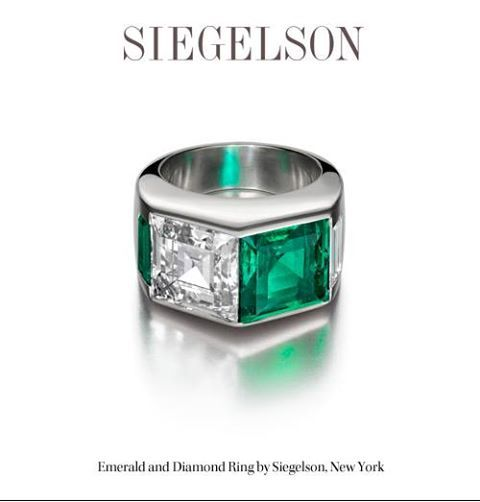 This emerald and diamond ring from Siegelson New York. It features a 4.53-carat Colombian emerald and a 5.02-carat emerald-cut diamond.