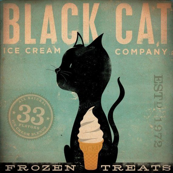 Black Cat Ice Cream Company original graphic art by geministudio, $39.00 - What is better than cats with ice cream?