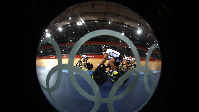Germany's Track Cycling team trains at the Velodrome / Olympic Rings - London 2012 Olympics  http://www.london2012.com/photos/galleryid=1298980/index.html#germany-track-cycling-team-trains-the-velodrome