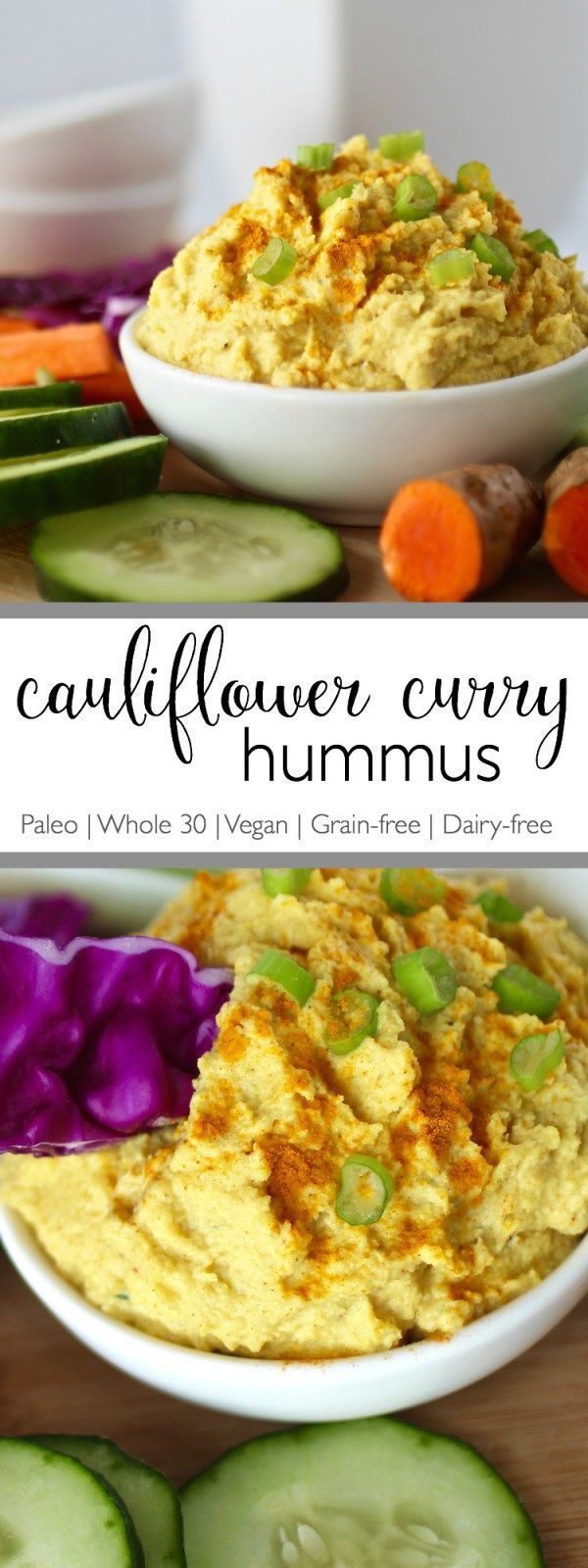 A recipe inspired by a favorite curry flavored hummus. This Cauliflower Curry Hummus is bean-free, whole-30 friendly and perfect for dipping veggies into. | Paleo | Whole 30 | Vegan | Grain-free