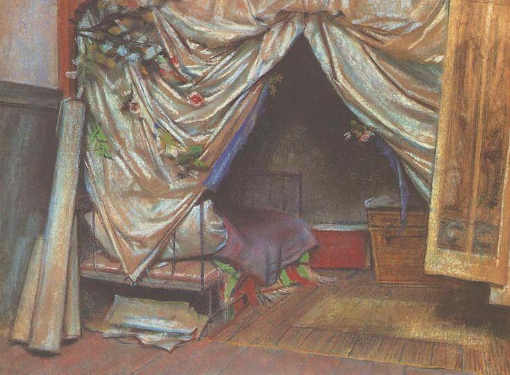 """Stanisław Wyspiański (Polish 1869–1907) """"Interior of the Artist's Studio in Paris"""", 1893, pastel, 45.5 x 59 cm, National Museum, Cracow."""