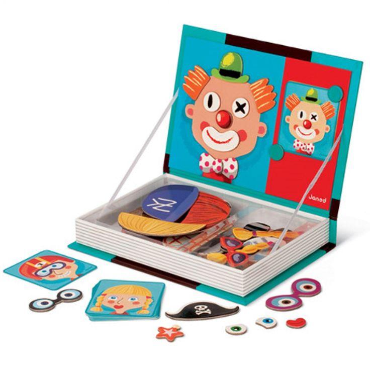 janod magneetboek gezichten - 79 st 5545   ilovespeelgoed.nl