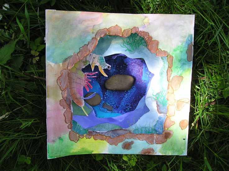 Tunnel book by Sabina - brilliant water colours, salt and soft and oil pastels