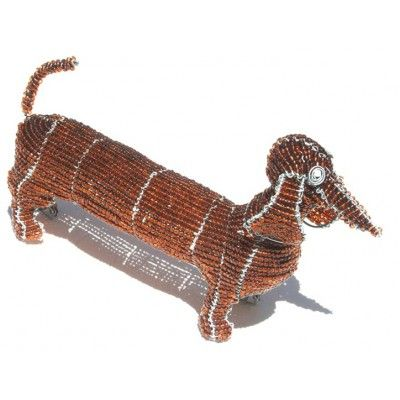 Dog Wire Art Beaded Sculpture