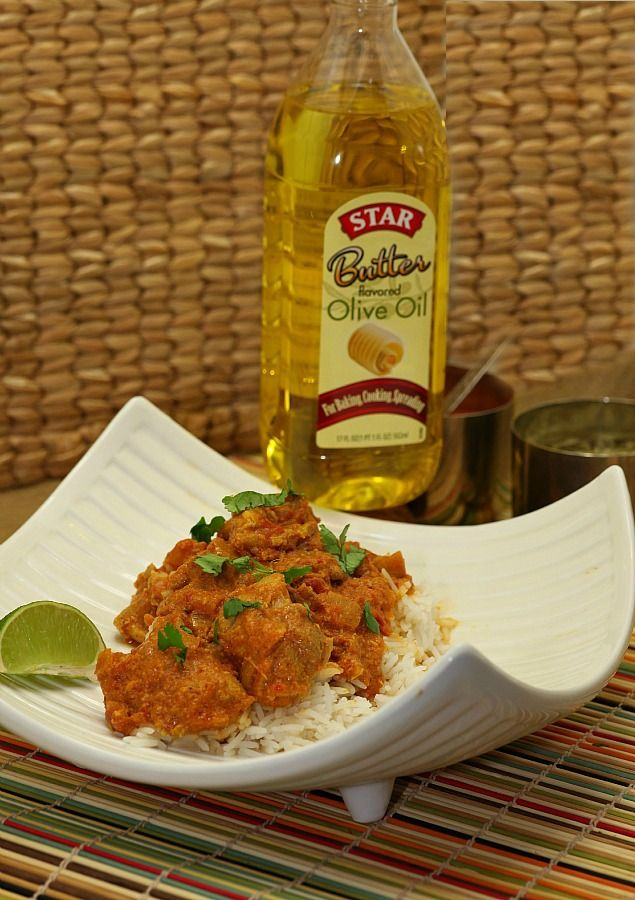 Healthier Indian Butter Chicken - made with olive oil instead of butter www.fooddonelight.com. #shop