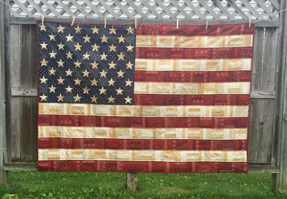 Stars and Stripes  Handmade American Flag Quilt by JustifiedKind