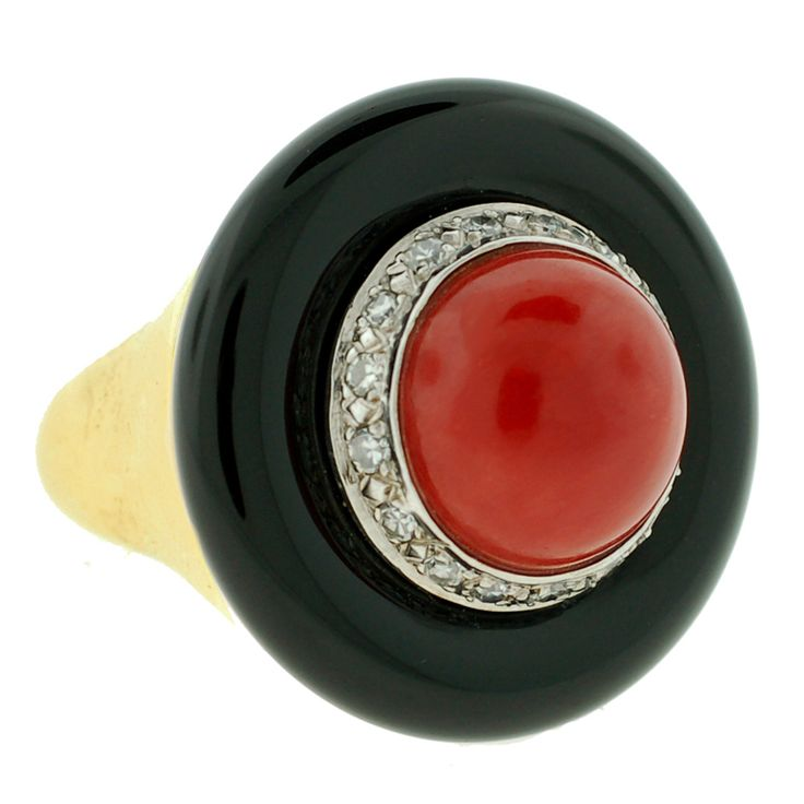 Large Diamond, Onyx & Coral Gold Ring | From a unique collection of vintage fashion rings at http://www.1stdibs.com/jewelry/rings/fashion-rings/
