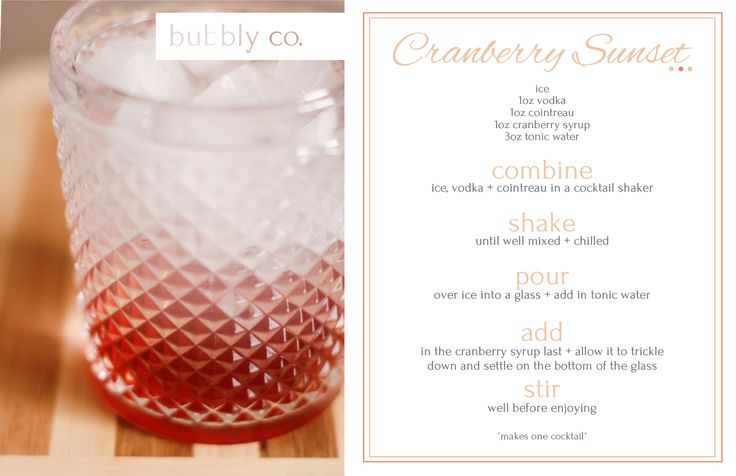 The Cranberry Sunset marries orange + cranberry flavours in this subtle, sharp cocktail.
