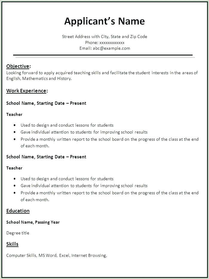 Resume Format For Job Interview For Freshers Pdf Teaching Resume Teacher Resume Resume Format Download