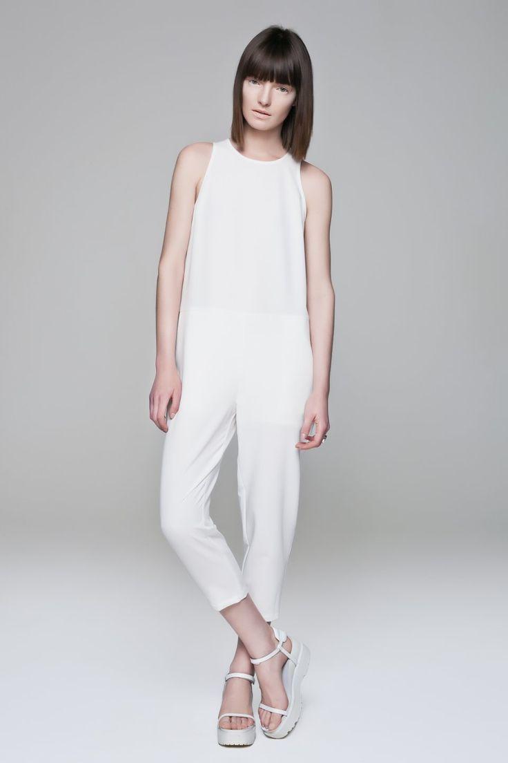 White Jumpsuit BLACKBLESSED  @Black Blessed #black #white #fashion #minimal #basic #elegant #designer #urban #urbanchic #dresses #pants #tshirt #top #leggings #white #simple #simplicity