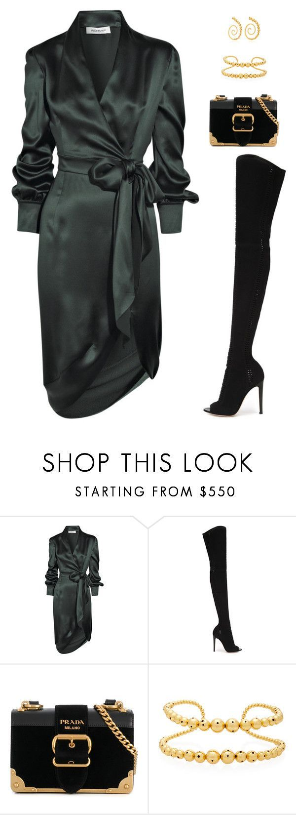"""""""Untitled #5205"""" by mdmsb on Polyvore featuring Yves Saint Laurent, Gianvito Rossi, Prada and Paula Mendoza"""
