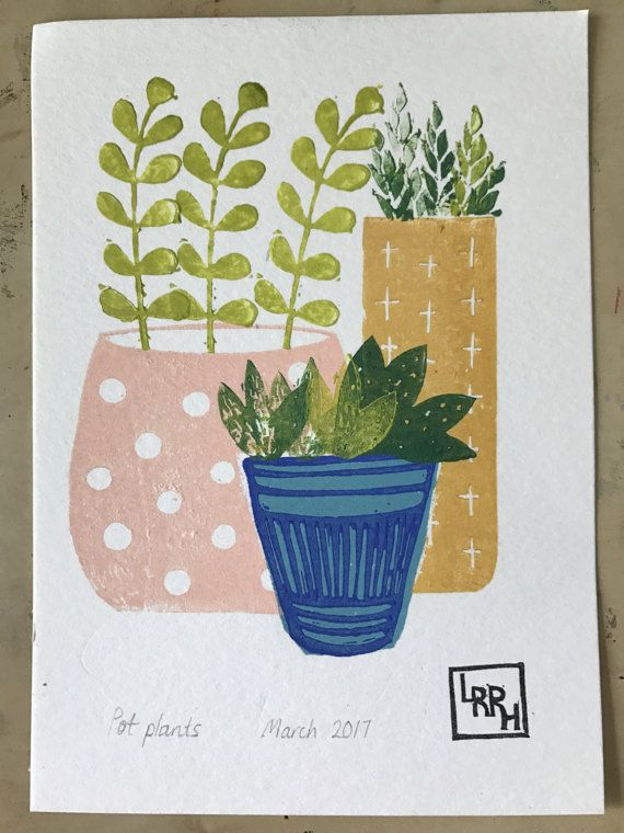 Hand printed succulents and pots in pink by LittleRowanRedhead