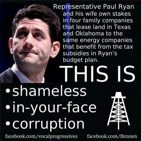 Rep Paul Ryan and his wife own stakes in four family companies that lease land in Texas & Oklahoma to the same energy companies that benefit from the tax subsidies in Ryan's budget plan. THIS IS shameless in-your-face corruption. | Imagine that!