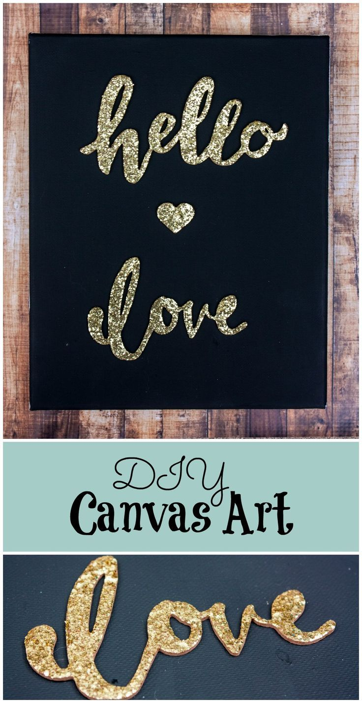 Create this great black and gold DIY Canvas Art, in very little time and for very little cost. Make something unique and special to fill your home with love