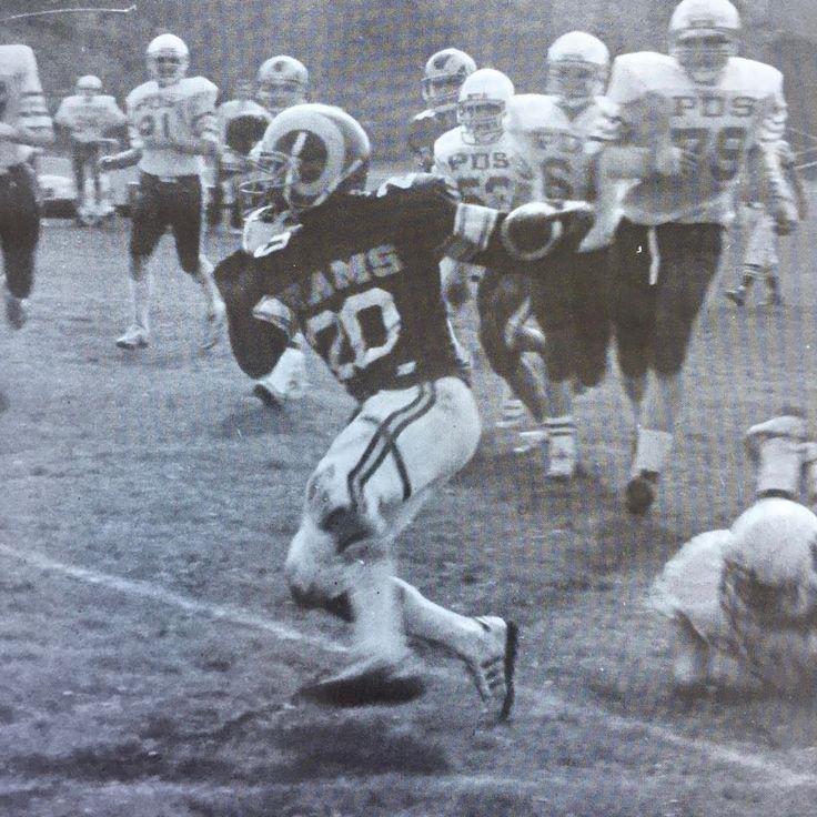 Wardlaw-Hartridge School versus Princeton Day School, 1985. Roger Wood, one of the Wood Brothers, turns the corner.
