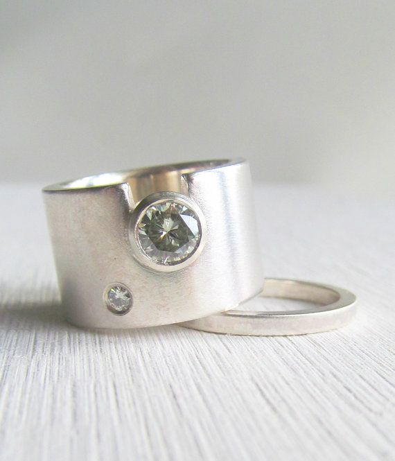 modern wide band engagment ring - unique wedding band - Moissanite or diamond sterling silver wide band engagment ring on Etsy, $498.00