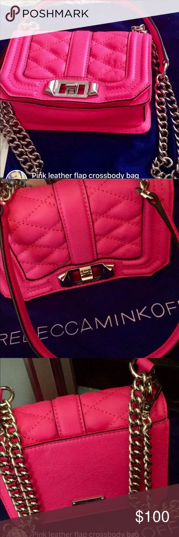 Rebecca Minkoff crossbody purse Never used. Brand new. Hot pink Rebecca Minkoff crossbody purse. Great condition. Originally $200. It also comes with a blue Rebecca Minkoff bag to protect the purse. And I also have an all white one. Rebecca Minkoff Bags Crossbody Bags