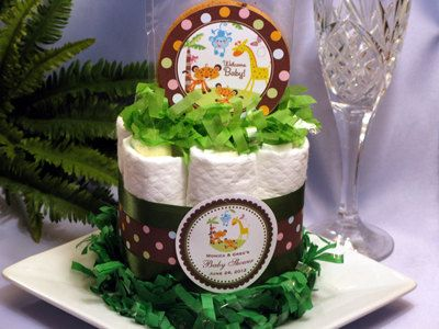 Fisher Price RAINFOREST Mini Diaper Cake Centerpiece   Baby Shower Favors.  $9.99, Via