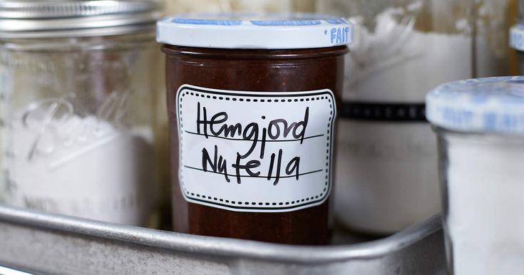 Leilas recept på hemgjord nutella, med apelsin, mörk choklad och honung i. Försvinnande god.