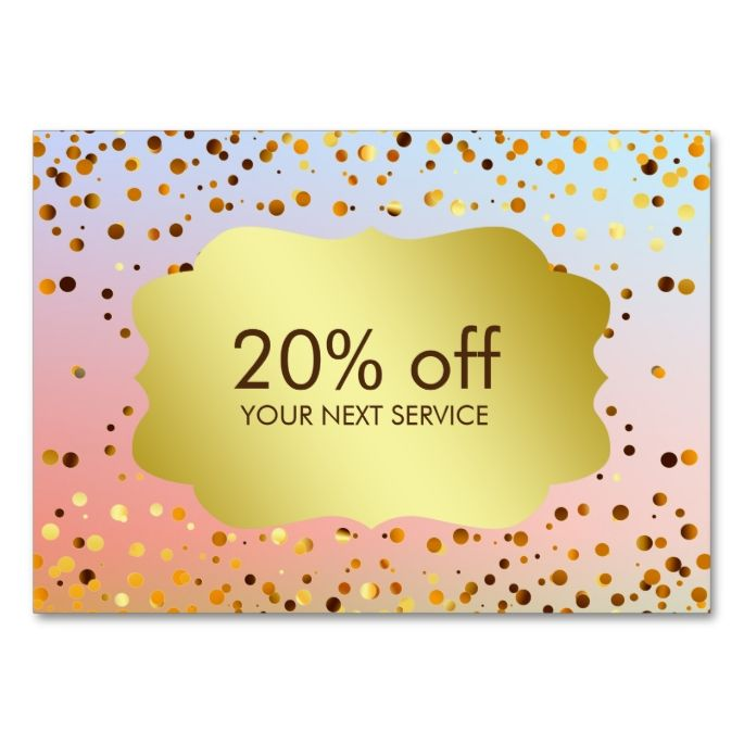 Confetti Gold Coupon Card Voucher Discount Gift Large Business Cards (Pack  Of Make Your Own Business Card With This Great Design.  Make Your Own Voucher