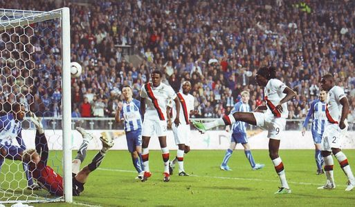 Lech Poznan 3 Man City 1 in Nov 2010 at Stadion Miejski. Emmanuel Adebayor scores City's only goal in the Europa League group game.