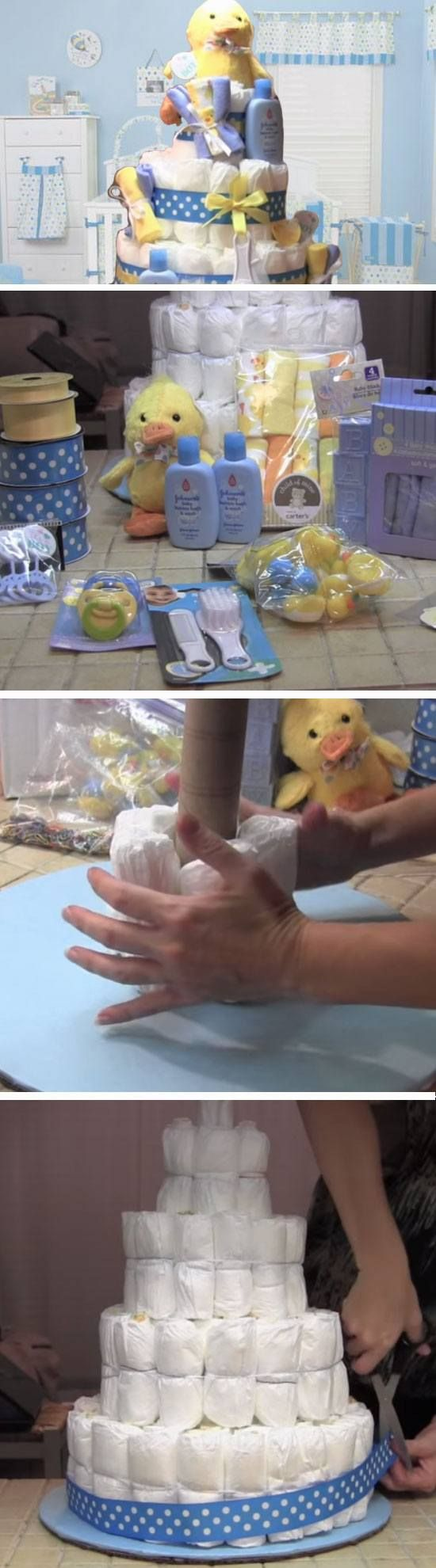 Ducky Diaper Cake | DIY Baby Shower Gift Basket Ideas for Boys