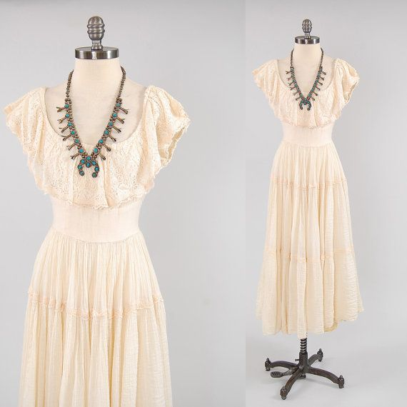 Vintage 60s GUNNE SAX cream gauze maxi dress by digvintageclothing, $127.00