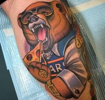 Cartoon Bear Eating Pizza Tattoo