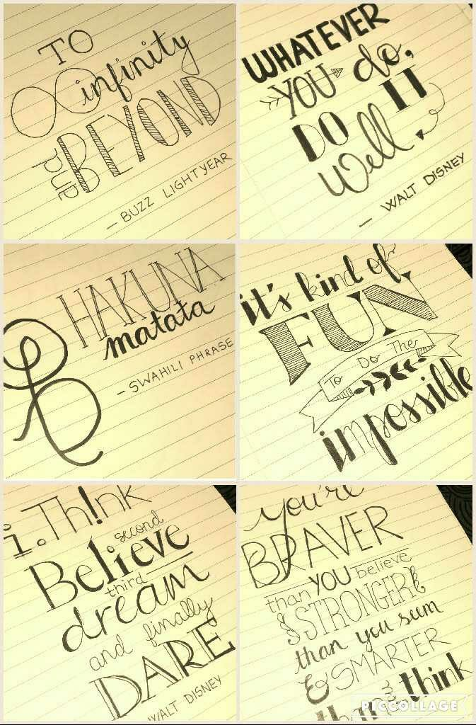 Walt Disney quotes and Disney movies quotes hand lettering