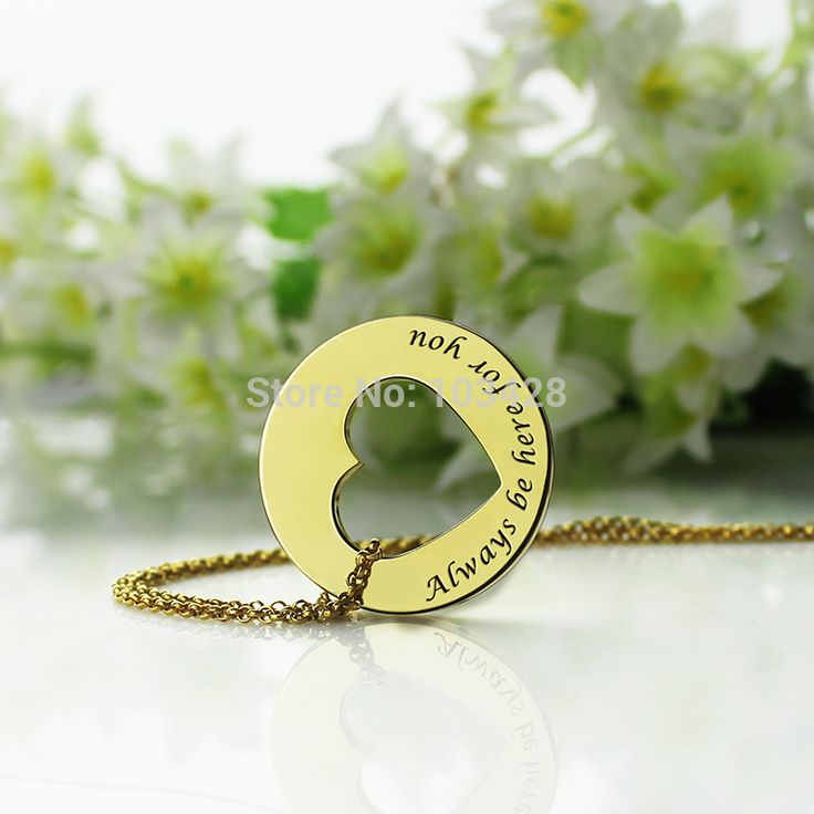 Cut Out Heart Name Necklace Personalized Disc Heart Necklace Gold Color  Promise Necklace Always Be Here For you Love Jewelry #Affiliate