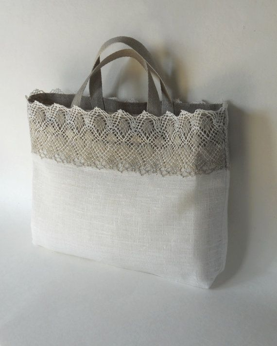 Linen tote bag ivory gray linen and lace custom made bridal tote lingerie bag bridesmaid favor bag