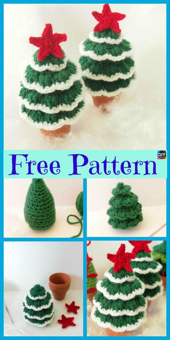 8 Mini Crochet Christmas Trees Free Patterns Crochet Pinterest