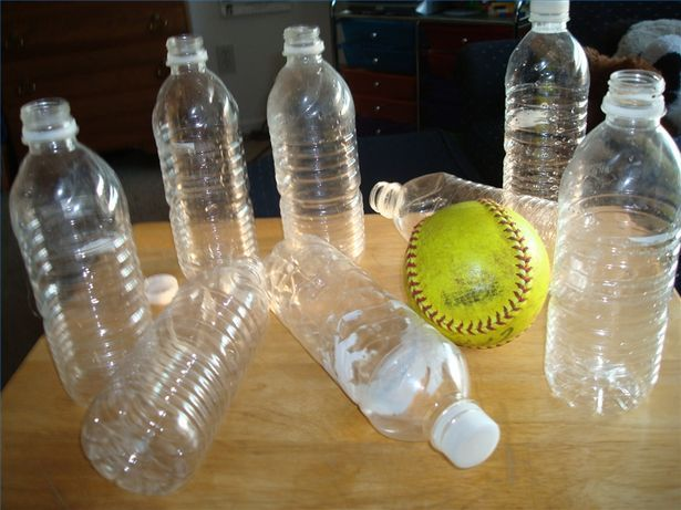 Recycled Water Bottle Bowling. This could also be done slightly larger with 2-liter bottles and a soccer ball or kick ball.