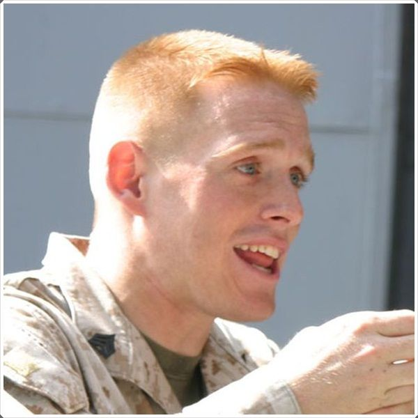 military haircuts for men: Ivy League cut on a Marine