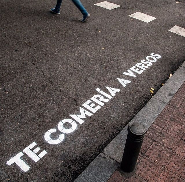 """Boa Mistura Mural """"Te comería a versos"""" ('Madrid, te comería a versos (Madrid, I would eat you by verses)' Project, Madrid, Spain) by Boa Mistura. It is an act of love of artists and poets for the city of Madrid."""