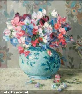 STILL LIFE WITH SWEET PEAS IN A VASE sold by Stephan Welz & Co. & Sotheby's, Johannesburg, on Tuesday, November 21, 2006