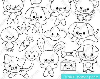 Rainforest animals Digital Stamps Clipart by pixelpaperprints