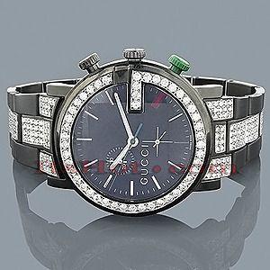 $5,995 - Gucci Watches Chrono Mens Diamond Watch 7.50ct Black