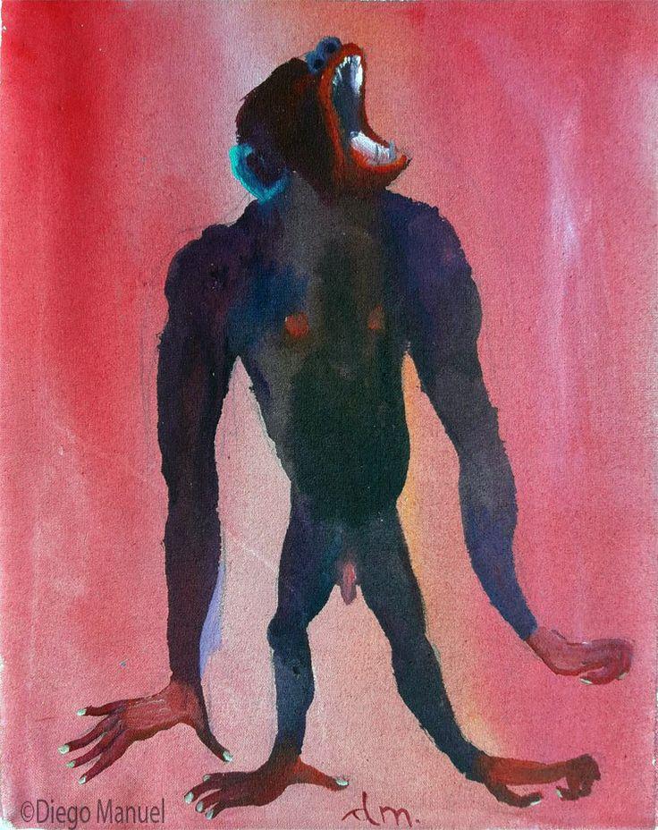 Painting titled angry gorilla for sale, of the artist Diego Manuel. Pintura titulada gorila enojado en venta, del artista Diego Manuel