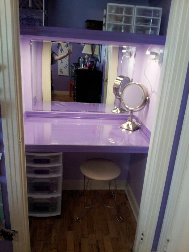 Closet Turned Into A Vanity For My Daughter