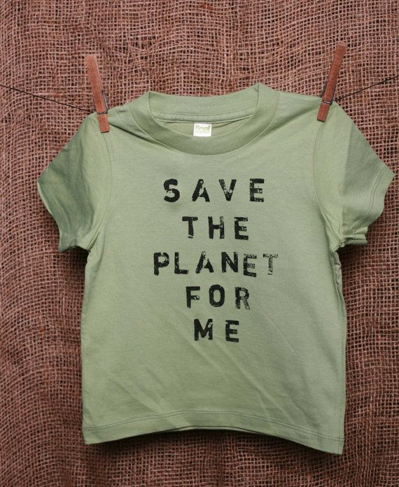 Children's Organic Cotton T Shirt Toddler Youth in Avocado Green - Save the Planet for Me