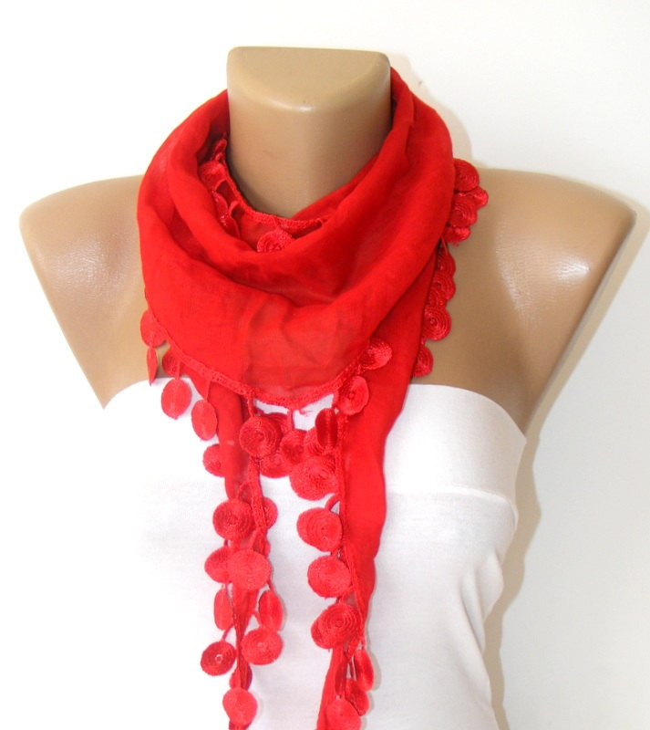 Valentines day,fashion RED Scarf Cotton Scarves,Custom Design Scarf,woman's scarves,Turkish cotton Scarves , gift ideas- fashion scarf. $12.90, via Etsy.