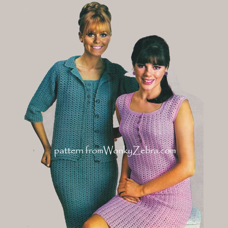 WZ930 classic pattern to crochet an elegant dress and cardigan jacket. the sheath dress has a square neckline and pretty shell trimmed placket detail; the jacket has stylish elbow length sleeves. Perfect for summer or dressed up for a wedding guest outfit.