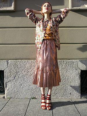 Wait and See presents MAISON SCOTCH bomber jacket ESSENTIEL top TELA skirt PARIS TEXAS shoes